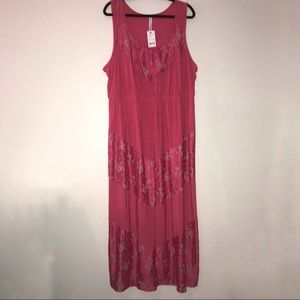 Pink Lace Paneled Maxi Dress 3X BNWT NY Collection